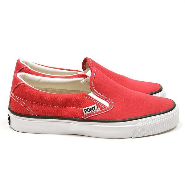 Dámské červené nazouvací boty Pony