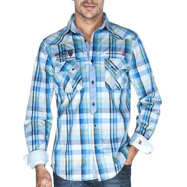 Pánská modře kostkovaná košile Giorgio di Mare