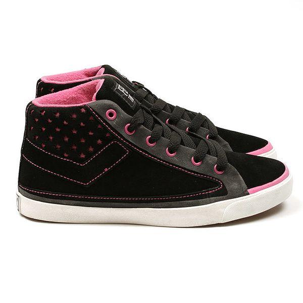 Černé kotníkové tenisky s růžovými prvky Pony