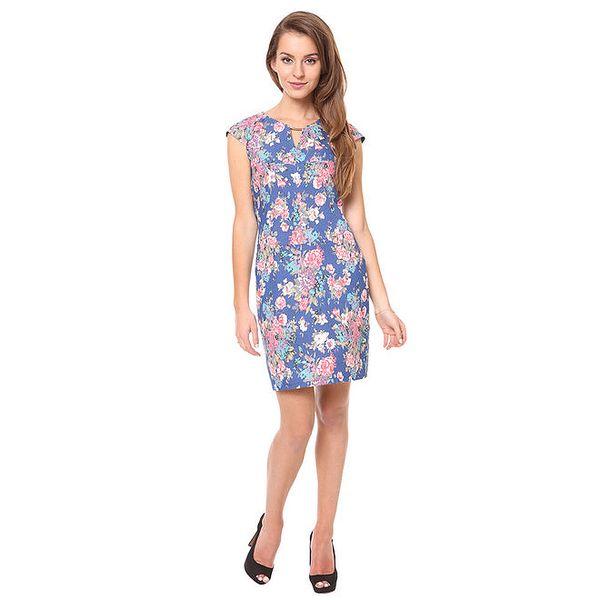 Dámské modré šaty s květinovým vzorem Moda Prym