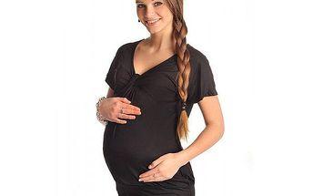 Těhotenské triko krátký rukáv - Twist - Black 6065 - různé vel.