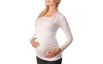 Těhotenské a kojící triko 2v1 Bára - White 7007 - různé vel.