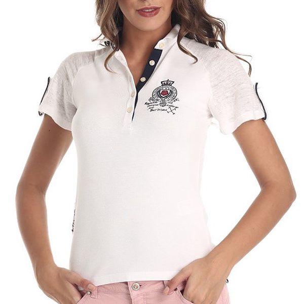Dámské bílé tričko s výšivkou Galvanni