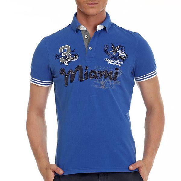 Pánské modré polo tričko s nášivkami Galvanni