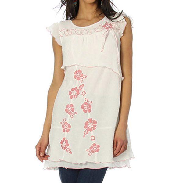 Dámská bílá tunika s růžovými květy Squise