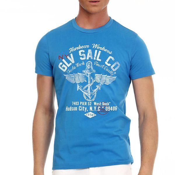 Pánské modré tričko s potiskem Galvanni