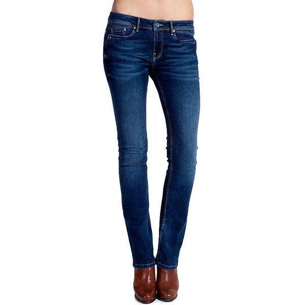 Dámské modré rovné džíny s šisováním Galvanni