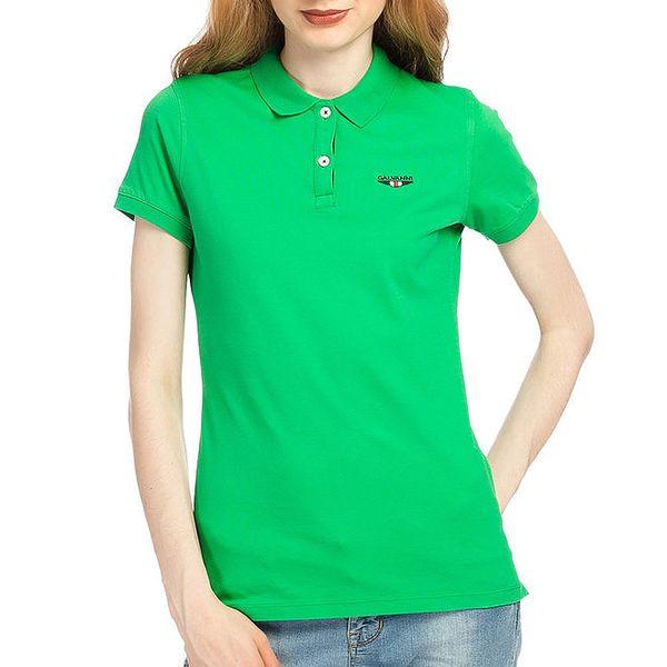Dámské zelené polo tričko s krátkým rukávem Galvanni