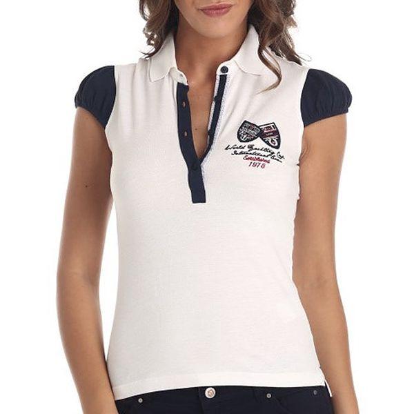 Dámské bílé tričko s knoflíkovým límečkem Galvanni