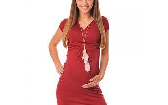 Těhotenské dámské šaty Agáta - Burgundy 8415 - různé vel.