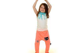 Světle růžový set s kočičkou-turecké kalhoty/tepláky+top+šátek