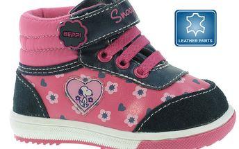 Dětské růžové kotníkové boty se Snoopym Beppi