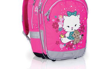 Sada pro školačku SET 091 H - Pink - školní batoh, kapsička na krk, peněženka, dvoupatrové pouzdro
