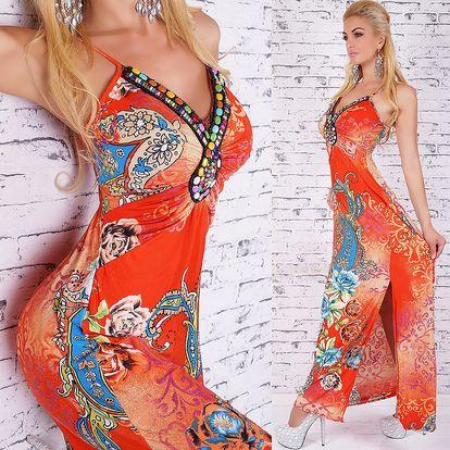 Queen O.F. letní dlouhé šaty - dokonalé vzory a korálky ST152