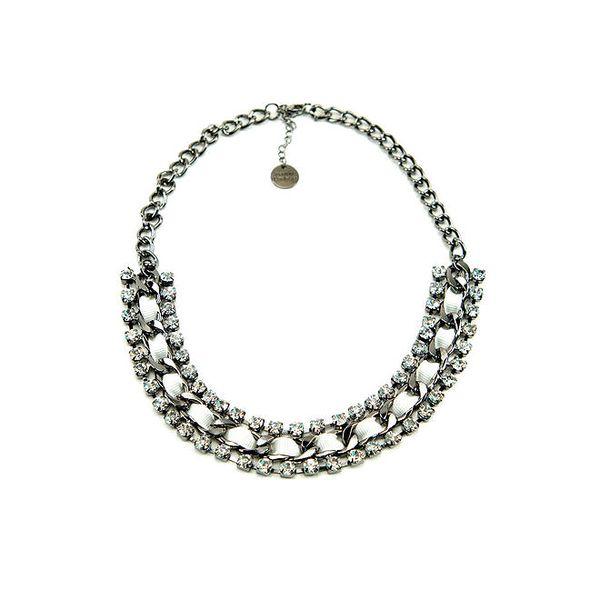 Dámský kovový náhrdelník s krystalky Invuu London