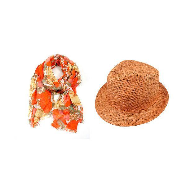 Dámský set - barevně vzorovaný šátek a oranžový slaměný klobouk Invuu London