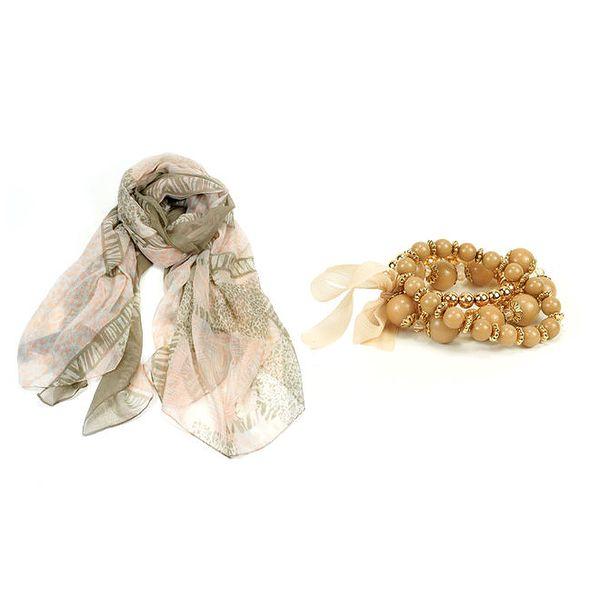 Dámský set - růžovo-šedý šátek a náramek Invuu London