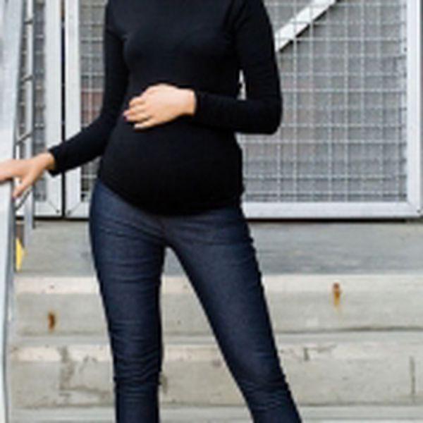 Těhotenské kalhoty JEANS - Černý jeans - vel. S