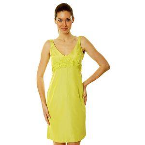 Dámské citrónově žluté šaty s aplikací Roberto Verino