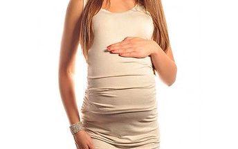 Těhotenský top - triko bez rukávů - Laura - Beige 5071 - různé vel.