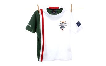 Dětské bílé tričko se zeleným rukávem Aeronautica Militare