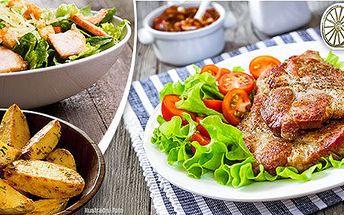 300g steak z krkovičky nebo salát s kuřetem