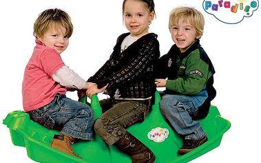 Houpačka krokodýl pro 3 děti, nosnost 3 x 50 kg (zelená / oranžová)