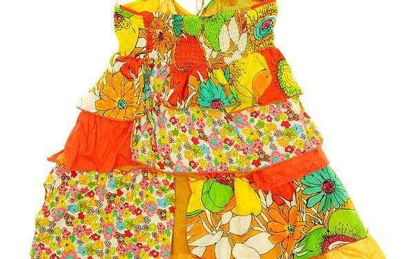 Dětské oranžovo-žluté šaty s volánky Peace&Love