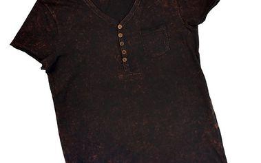 Pánské černé tričko s knoflíčky 98-86