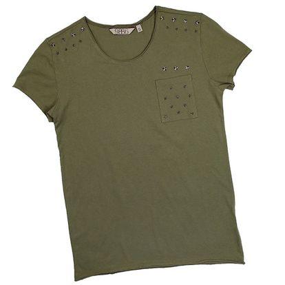 Pánské olivově zelené tričko s krátkým rukávem a hvězdami 98-86