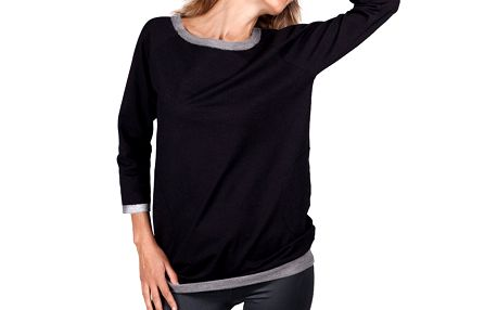 Dámské černé tričko s šedým lemováním Sixie
