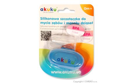 První zubní kartáček s pouzdrem Akuku modrý