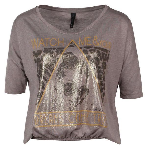 Dámské krátké hnědé tričko s potiskem Fresh Made