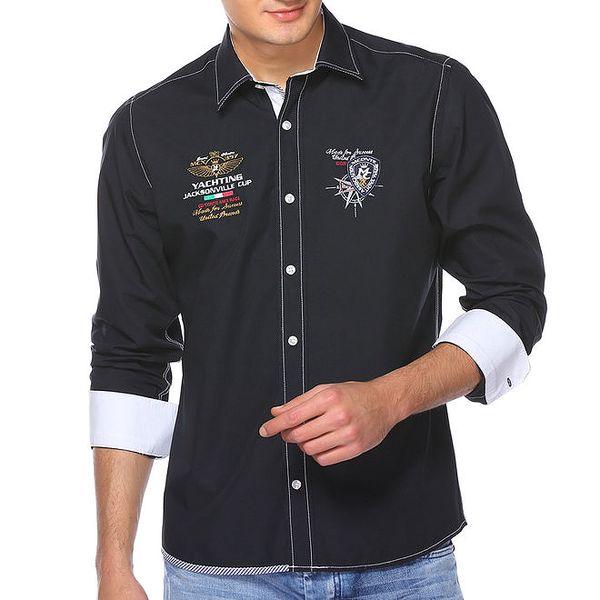 Pánská tmavomodrá košile s výšivkami M. Conte