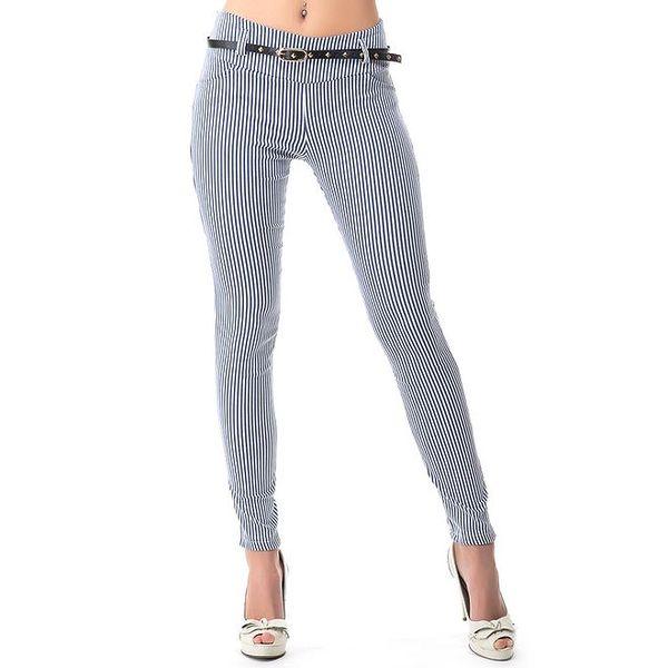 Dámské kalhoty s modrými proužky a páskem Sixie