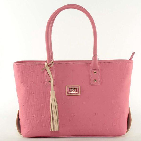 Dámská růžová kabelka se smetanovým střapcem Pierre Cardin