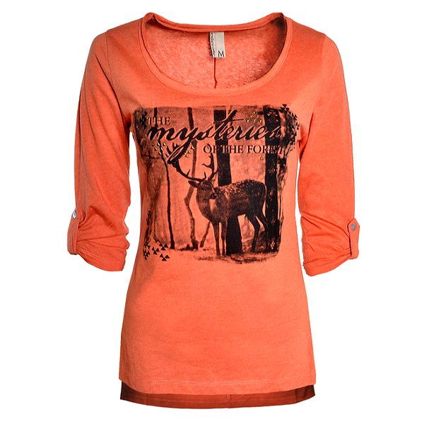 Dámské oranžové tričko s jelenem Urban Surface