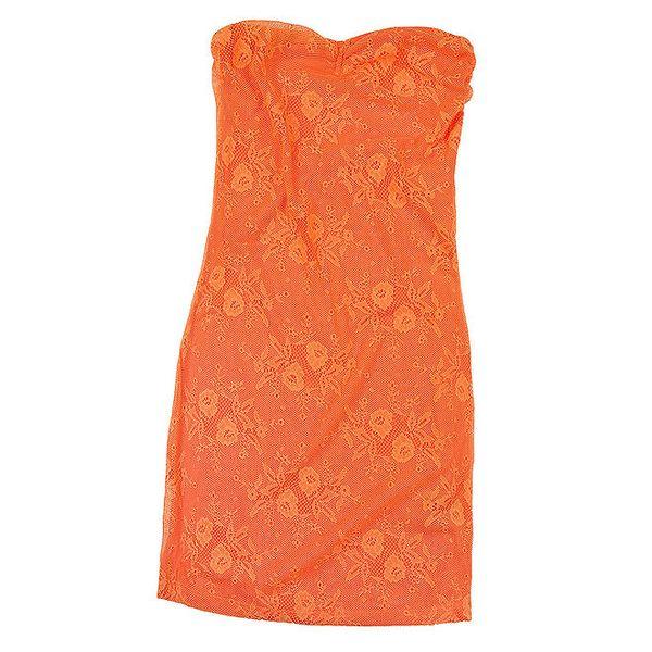 Dámské oranžové krajkové šaty Sublevel