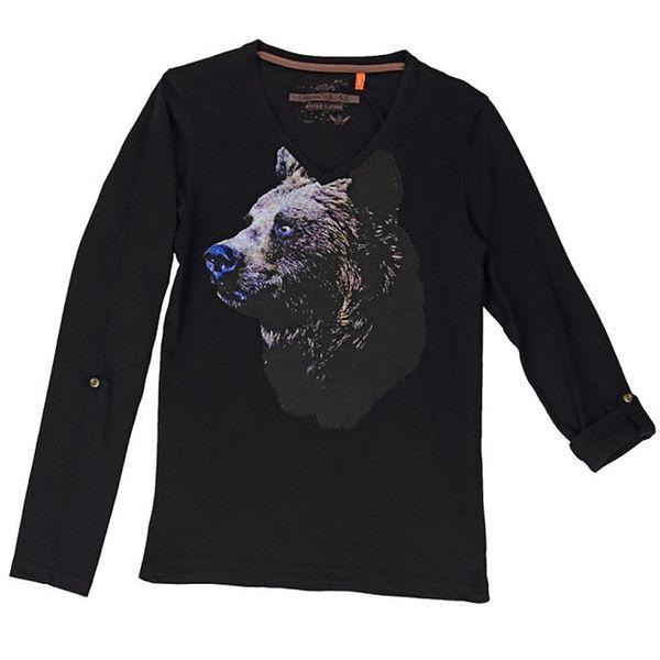 Pánské černé triko s medvědem Urban Surface