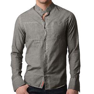 Pánská šedá košile s dlouhým rukávem RNT23