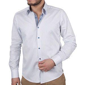 Pánská bílá košile s proužky RNT23