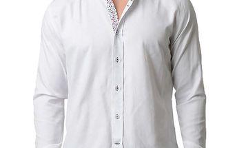 Pánská bílá košile s květinkovými detaily RNT23