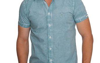 Pánská světle modrá denimová košile s krátkými rukávy RNT23