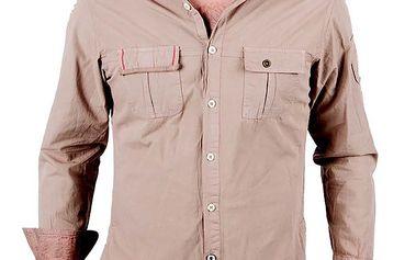 Pánská světle hnědá košile s dlouhým rukávem RNT23