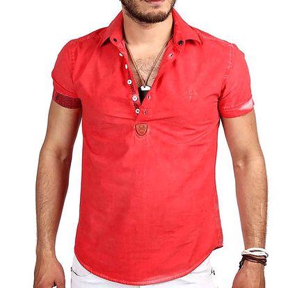 Pánská červená polo košile s krátkým rukávem RNT23