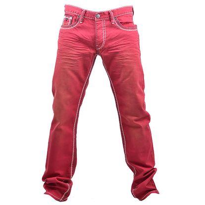 Pánské červené prošívané džíny RNT23