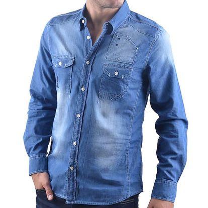 Pánská modrá džínová košile RNT23