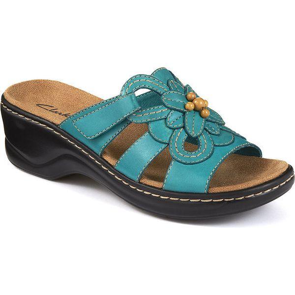 Dámské tyrkysové sandálky s květinou a korálky Clarks