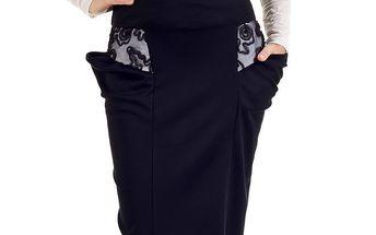 Dámská černá sukně s krajkou SforStyle