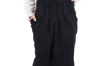 Dámská černá sukně s vysokým pasem SforStyle